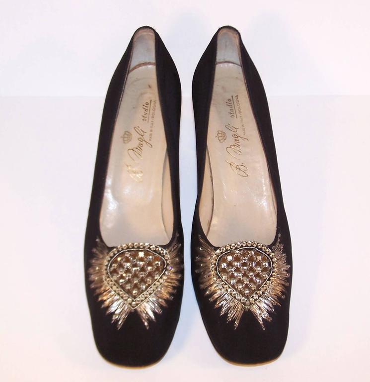 Regal 1960's Bruno Magli Black Silk Faille Shoes With Rhinetones In Excellent Condition For Sale In Atlanta, GA