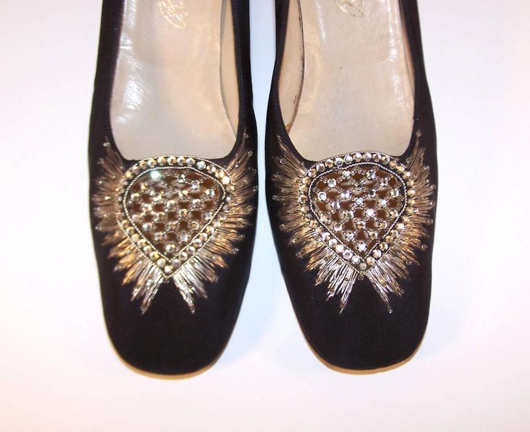 Women's Regal 1960's Bruno Magli Black Silk Faille Shoes With Rhinetones For Sale