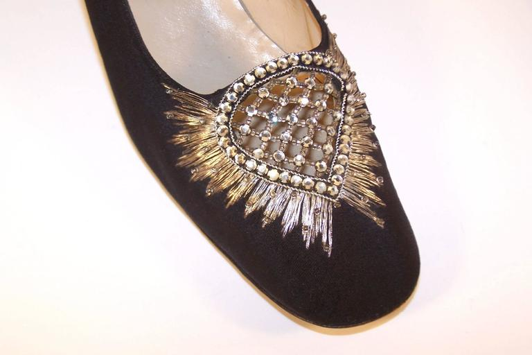 Regal 1960's Bruno Magli Black Silk Faille Shoes With Rhinetones For Sale 1