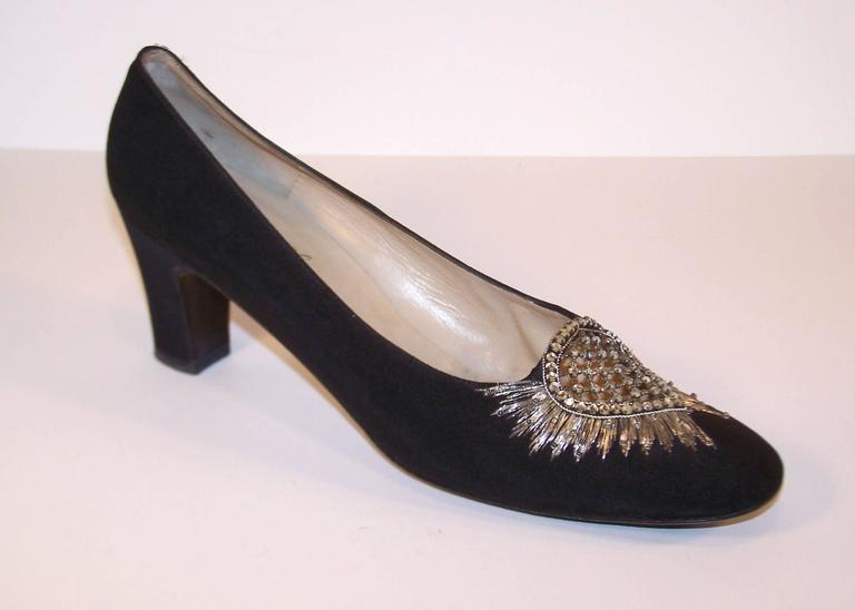 Regal 1960's Bruno Magli Black Silk Faille Shoes With Rhinetones For Sale 2