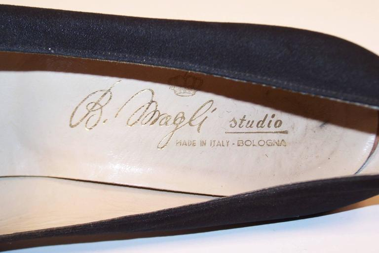 Regal 1960's Bruno Magli Black Silk Faille Shoes With Rhinetones For Sale 6