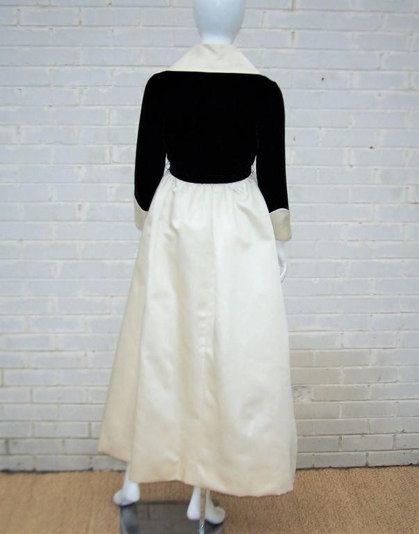 Fab 1960's Geoffrey Beene Black Velvet & Ivory Satin Evening Dress For Sale 1