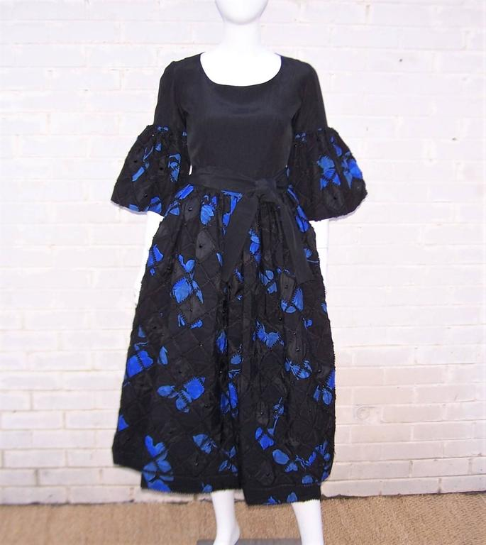 1970's Adolfo Two Piece Electric Blue & Black Peasant Dress  In Excellent Condition For Sale In Atlanta, GA