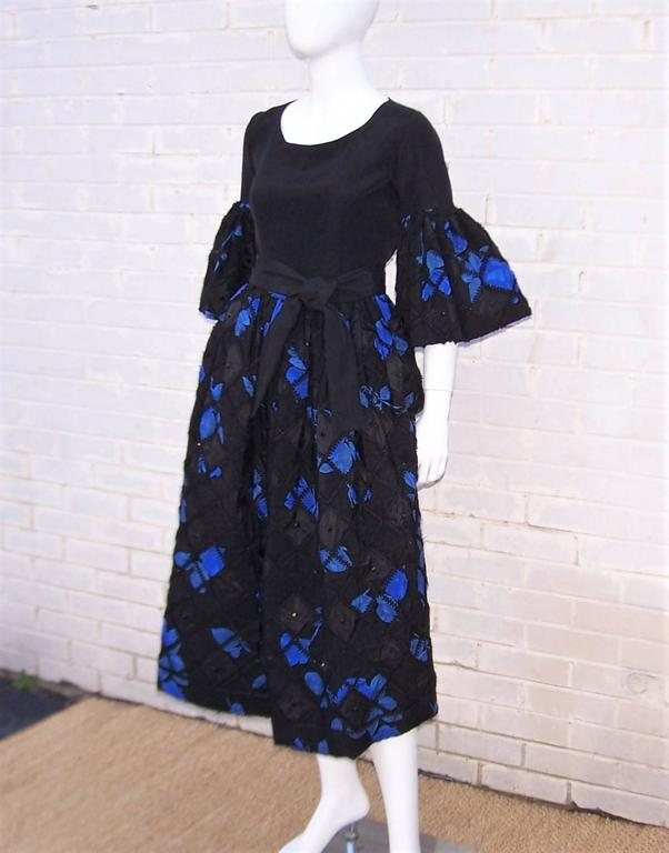 Women's 1970's Adolfo Two Piece Electric Blue & Black Peasant Dress  For Sale