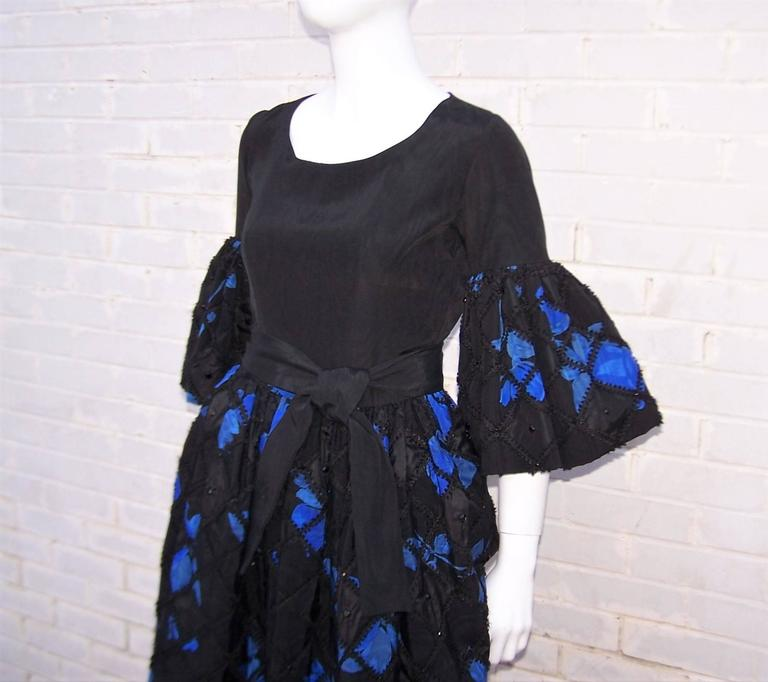 1970's Adolfo Two Piece Electric Blue & Black Peasant Dress  For Sale 1