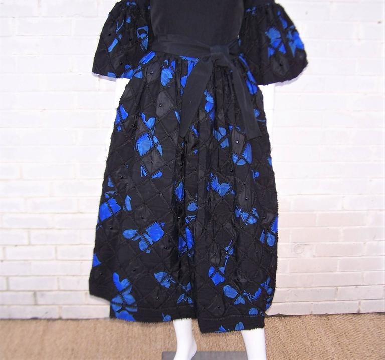 1970's Adolfo Two Piece Electric Blue & Black Peasant Dress  For Sale 2