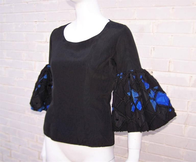 1970's Adolfo Two Piece Electric Blue & Black Peasant Dress  For Sale 4