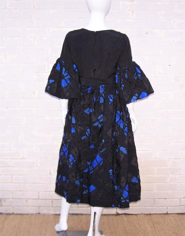 1970's Adolfo Two Piece Electric Blue & Black Peasant Dress  For Sale 5