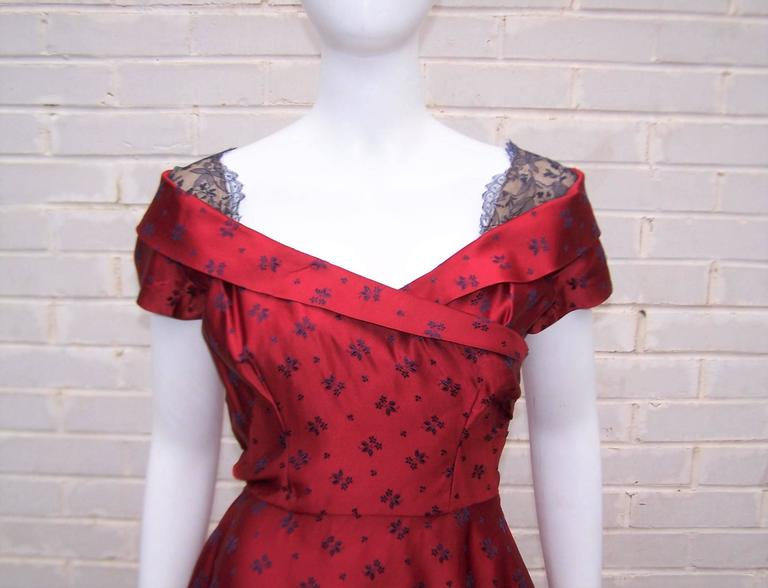 Late 1940 S Adele Simpson Cherry Red And Blue Satin Party