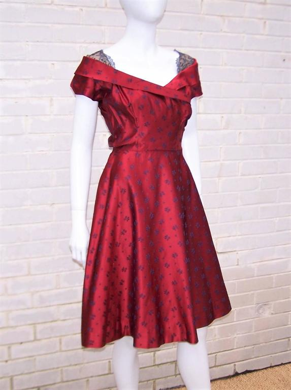 Late 1940's Adele Simpson Cherry Red & Blue Satin Party Dress For Sale 1