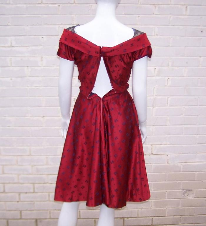 Late 1940's Adele Simpson Cherry Red & Blue Satin Party Dress For Sale 3