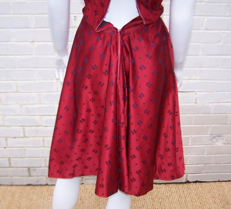 Late 1940's Adele Simpson Cherry Red & Blue Satin Party Dress For Sale 4