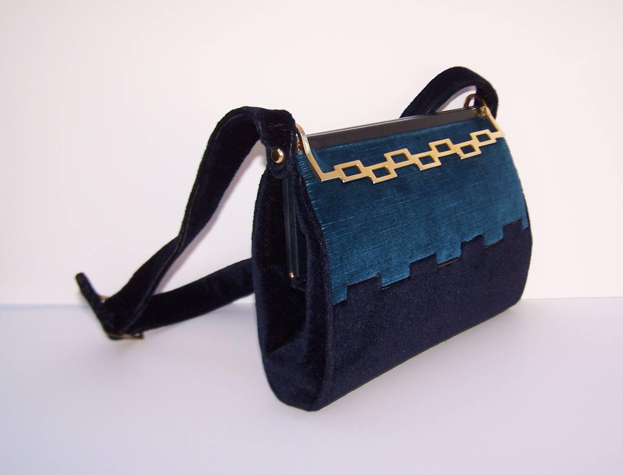 1stdibs Italian C.1970 Giotti Geometric Blue Velvet Handbag iuFEmO