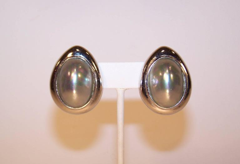 1980 S Ciner Egg Shaped Silver Tone Pearl Earrings For