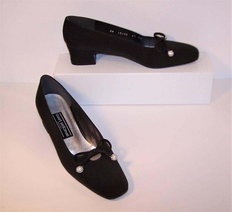 Stuart Weitzman 1980's Classic Black Evening Shoes With Rhinestone Pom Poms In Excellent Condition For Sale In Atlanta, GA