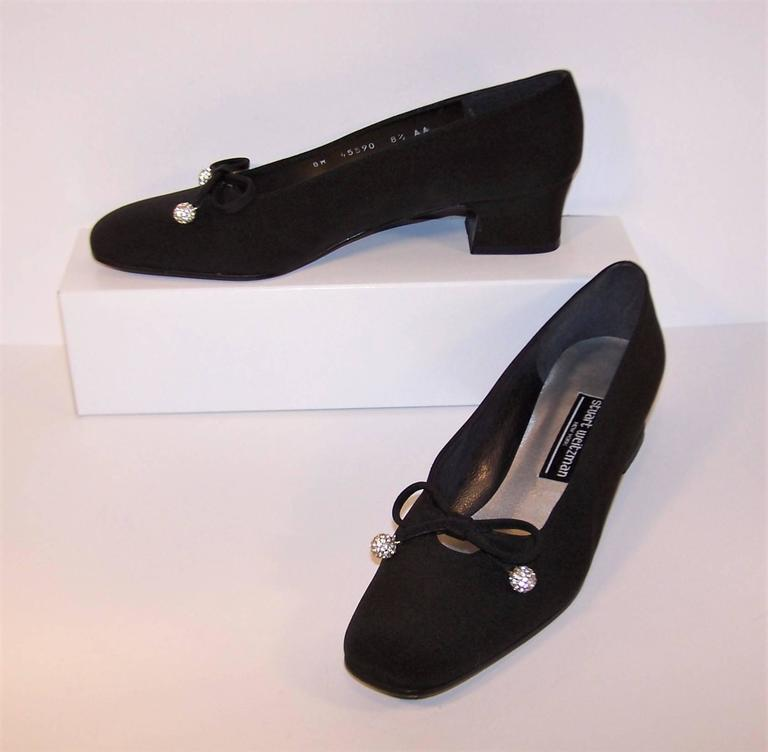 Women's Stuart Weitzman 1980's Classic Black Evening Shoes With Rhinestone Pom Poms For Sale