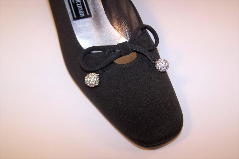 Stuart Weitzman 1980's Classic Black Evening Shoes With Rhinestone Pom Poms For Sale 3
