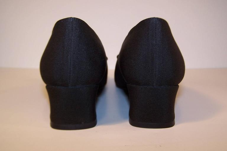 Stuart Weitzman 1980's Classic Black Evening Shoes With Rhinestone Pom Poms For Sale 4