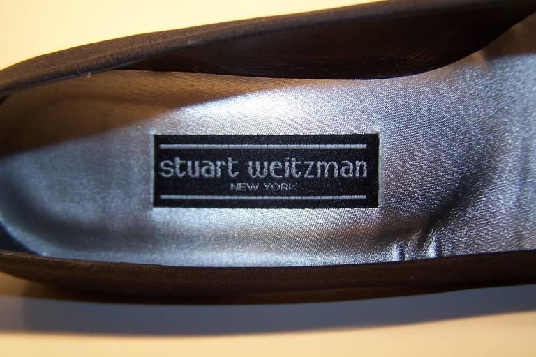 Stuart Weitzman 1980's Classic Black Evening Shoes With Rhinestone Pom Poms For Sale 6