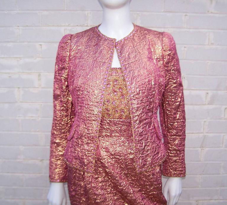 Futuristic Glam 1970 S Adolfo Pink And Gold Cocktail Suit