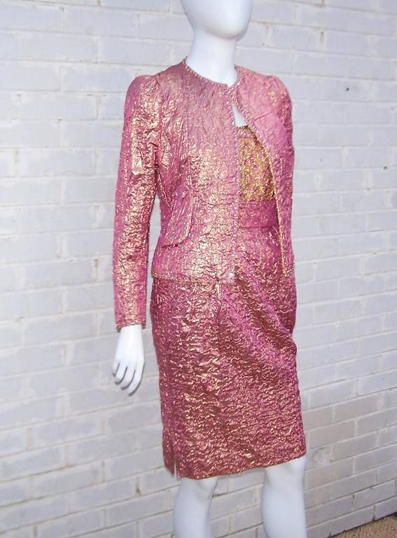 Futuristic Glam 1970's Adolfo Pink & Gold Cocktail Suit For Sale 4