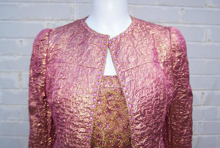 Futuristic Glam 1970's Adolfo Pink & Gold Cocktail Suit In Excellent Condition For Sale In Atlanta, GA
