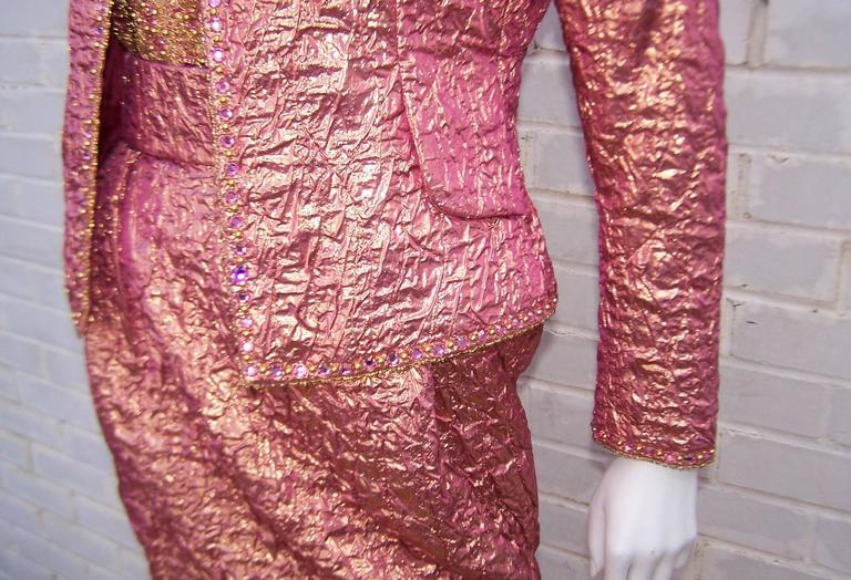 Women's Futuristic Glam 1970's Adolfo Pink & Gold Cocktail Suit For Sale