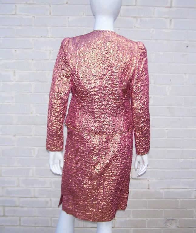 Futuristic Glam 1970's Adolfo Pink & Gold Cocktail Suit For Sale 5