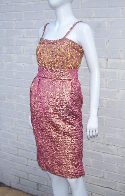 Futuristic Glam 1970's Adolfo Pink & Gold Cocktail Suit For Sale 1