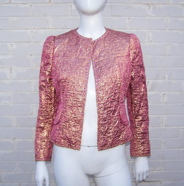 Futuristic Glam 1970's Adolfo Pink & Gold Cocktail Suit For Sale 3