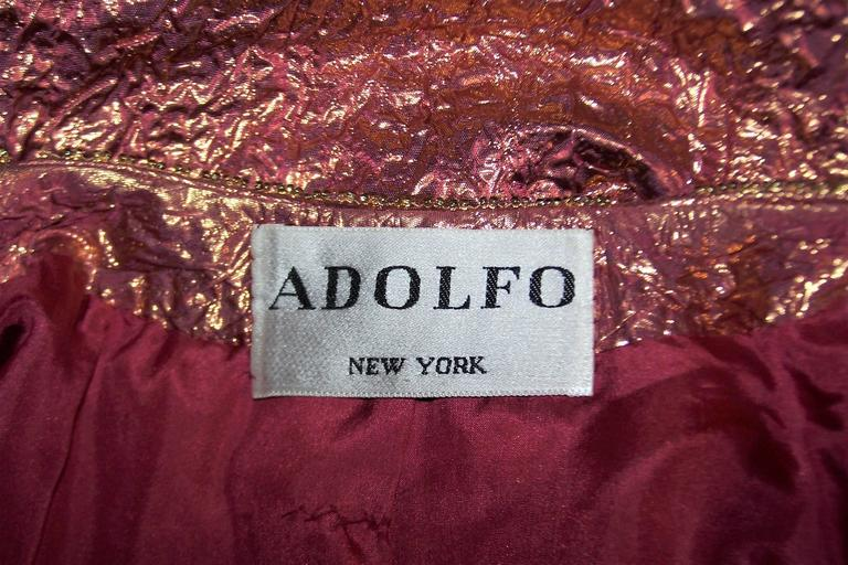 Futuristic Glam 1970's Adolfo Pink & Gold Cocktail Suit For Sale 6