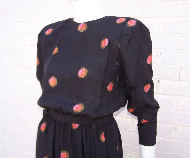 1980's Stanley Platos Black Silk Jacquard Dress With Balloon Hem In Excellent Condition For Sale In Atlanta, GA