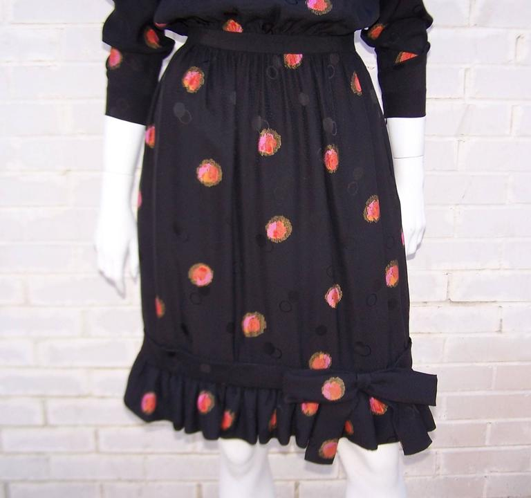 Women's 1980's Stanley Platos Black Silk Jacquard Dress With Balloon Hem For Sale