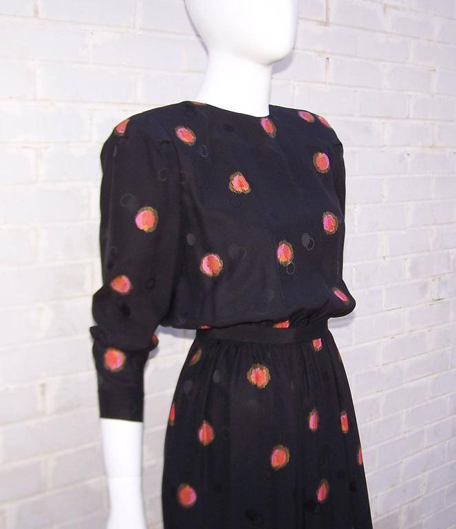 1980's Stanley Platos Black Silk Jacquard Dress With Balloon Hem For Sale 3