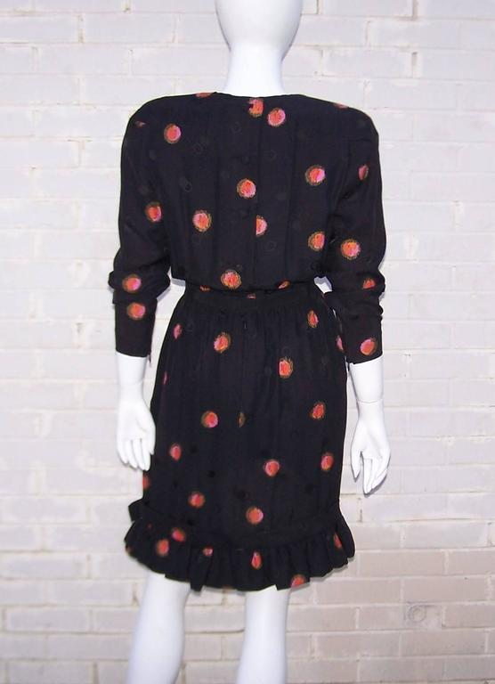1980's Stanley Platos Black Silk Jacquard Dress With Balloon Hem For Sale 4