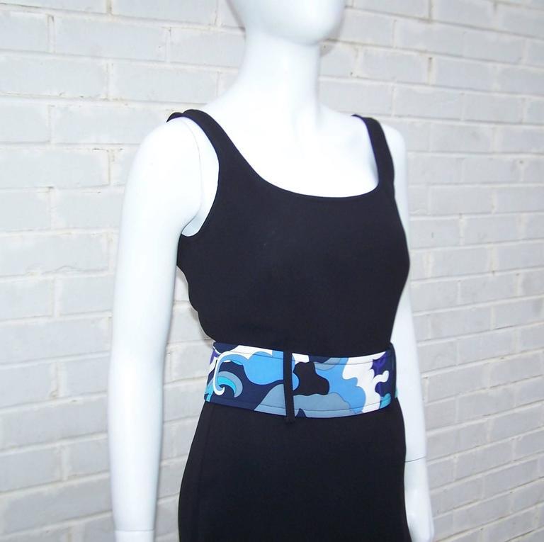 Women's C.2000 Emilio Pucci Black Silk Tank Dress With Mod Belt For Sale