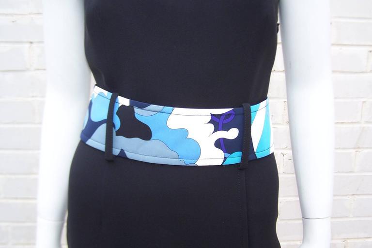 C.2000 Emilio Pucci Black Silk Tank Dress With Mod Belt For Sale 2