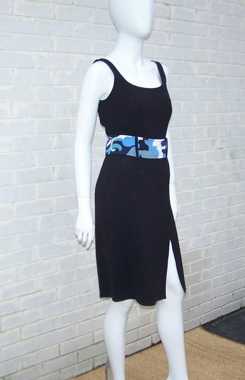 C.2000 Emilio Pucci Black Silk Tank Dress With Mod Belt In New Condition For Sale In Atlanta, GA