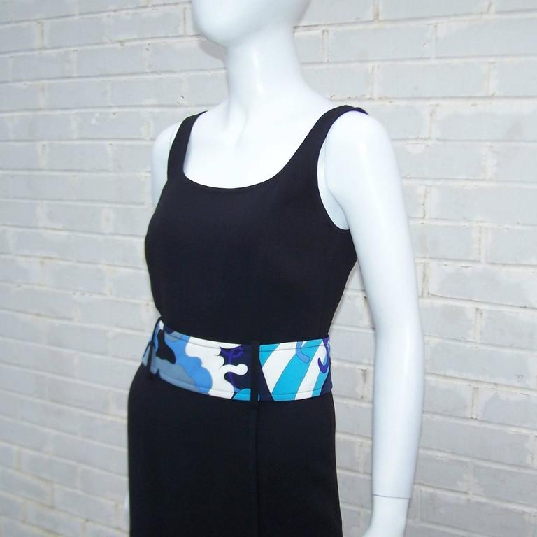 C.2000 Emilio Pucci Black Silk Tank Dress With Mod Belt For Sale 1