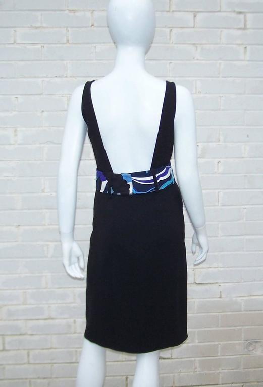 C.2000 Emilio Pucci Black Silk Tank Dress With Mod Belt For Sale 4