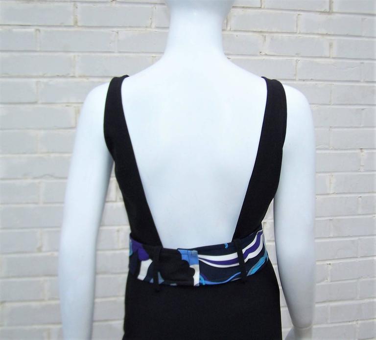 C.2000 Emilio Pucci Black Silk Tank Dress With Mod Belt For Sale 5