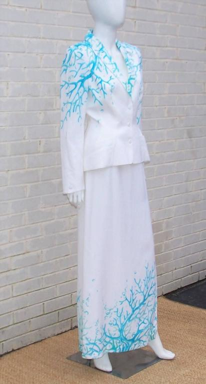 1980's Thierry Mugler White Linen Evening Suit With Aqua Coral Print 3
