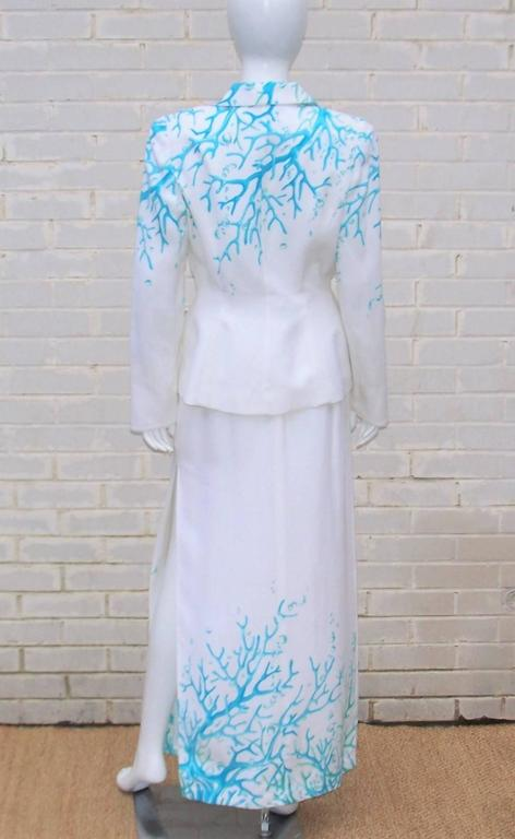1980's Thierry Mugler White Linen Evening Suit With Aqua Coral Print 4