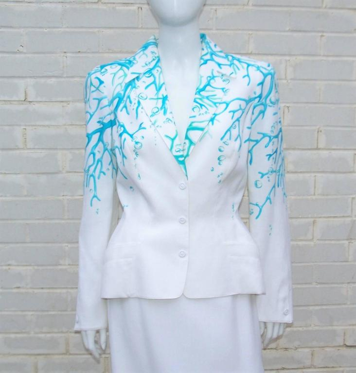 1980's Thierry Mugler White Linen Evening Suit With Aqua Coral Print 7