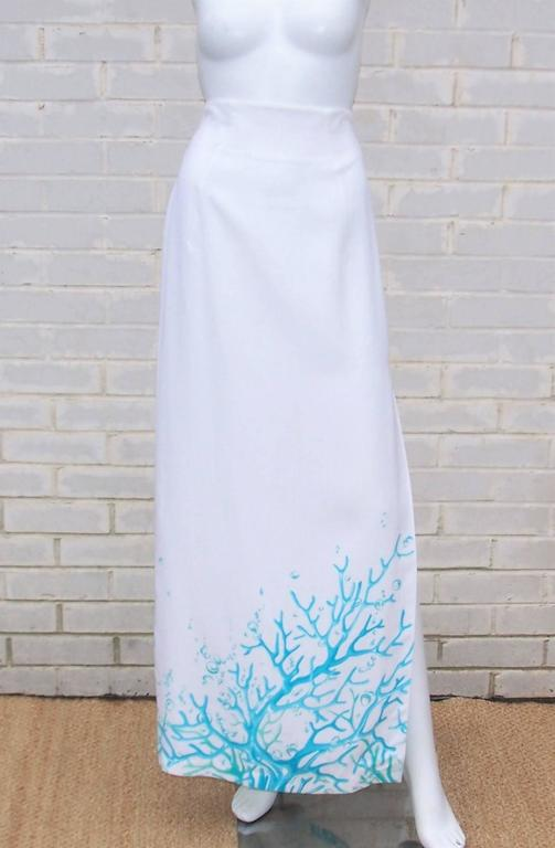 1980's Thierry Mugler White Linen Evening Suit With Aqua Coral Print 8