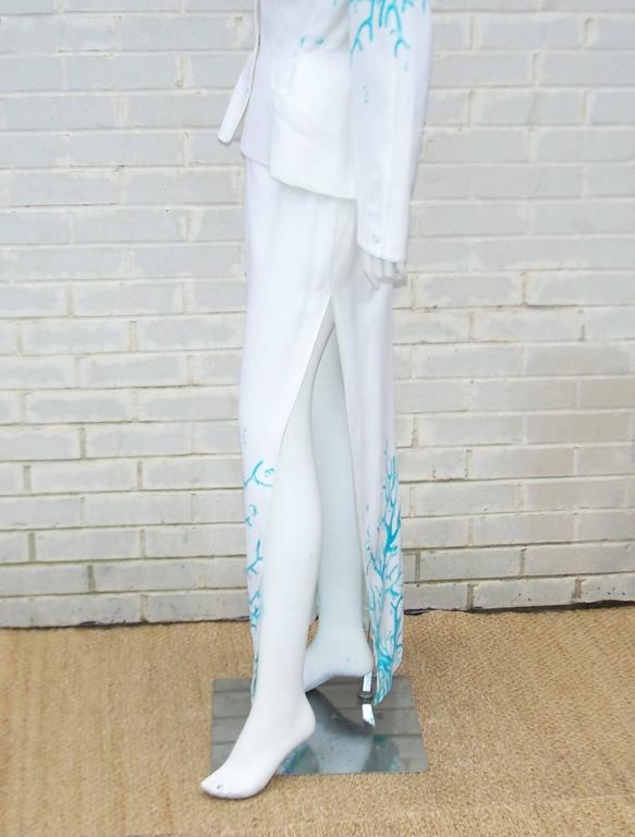 1980's Thierry Mugler White Linen Evening Suit With Aqua Coral Print 9