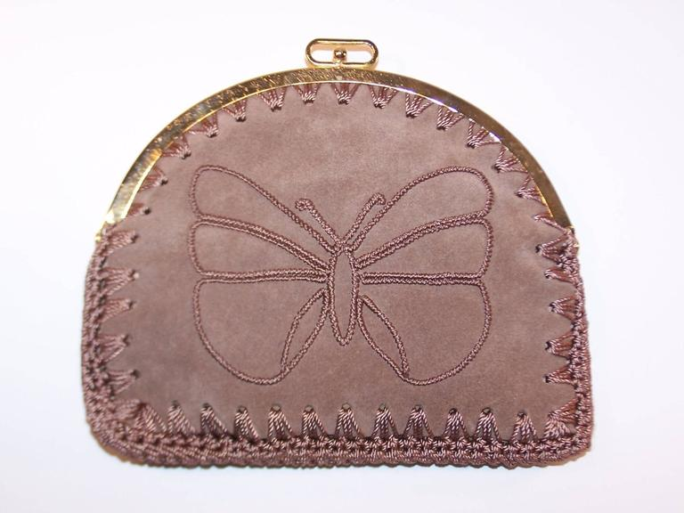Brown 1970's Neiman Marcus Bohemian Suede Clutch With Crochet & Butterflies For Sale