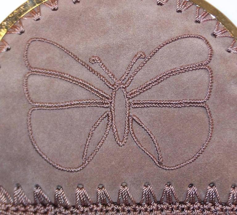 1970's Neiman Marcus Bohemian Suede Clutch With Crochet & Butterflies In Excellent Condition For Sale In Atlanta, GA