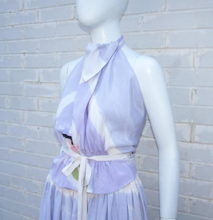Blue Lovely 1970's Michaele Vollbracht Pastel Silk Halter Dress With Wrap For Sale