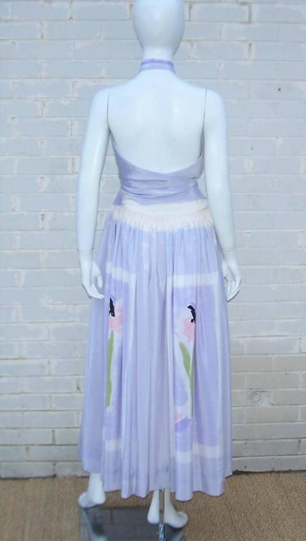 Lovely 1970's Michaele Vollbracht Pastel Silk Halter Dress With Wrap In Excellent Condition For Sale In Atlanta, GA